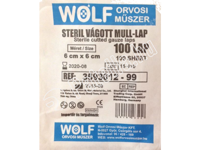 Wolf mull lap steril  6X6CM 100 x